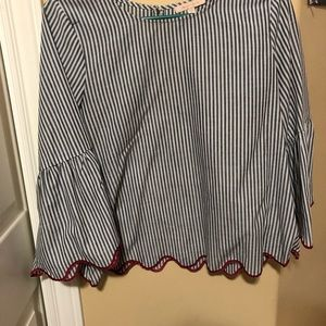 Tops - Striped blouse with scallop trim
